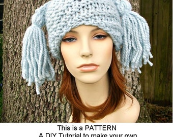 Instant Download Knitting Pattern - Womens Hat Pattern - Knit Hat Pattern for Spiral Ponytail Tassel Hat Pattern - Womens Accessories