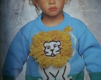 Kids Knitting Patterns Animal Sweaters On Safari Beehive Patons 520