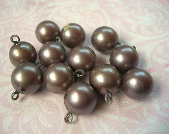 Vintage Japanese Glass Pearls Bead Charms LARGE 12mm Drops lot of 12 SMOKEY GRAY