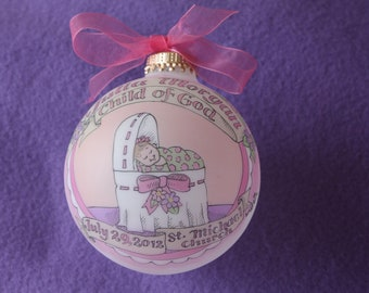 Baby Girl Baptism Ornament, Child of God, Baby in the Bassinet Personalized, Handpainted, and totally Original, WITH DISPLAY STAND