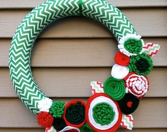 Christmas Wreath wrapped in Chevron Christmas Ribbon w/ felt flowers - Holiday Wreath - Christmas Wreath - Ribbon Wreath - Chevron Wreath