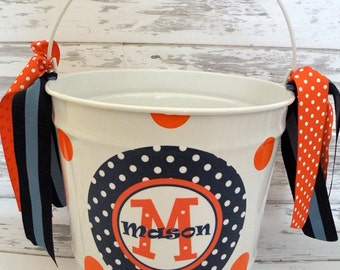 custom monogrammed preppy bucket in orange and navy blue - personalized