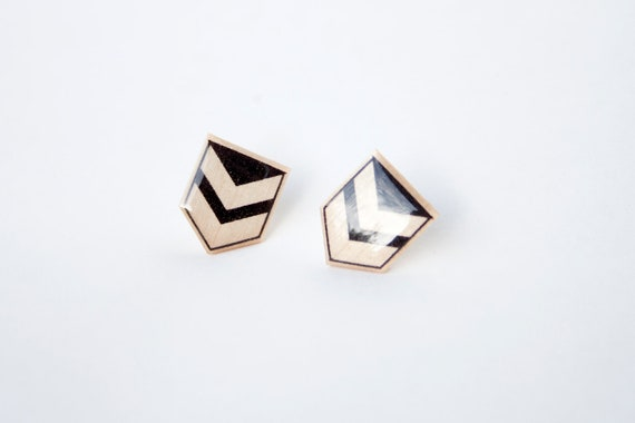 Black & White Geometric Chevron Post Wooden Earring