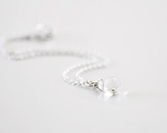 Waterdrop bracelet - clear tiny teardrop sterling silver chain - delicate jewelry - edor  gift for her