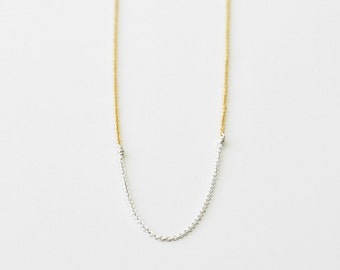 Minimalist silver and gold necklace - delicate layering necklace - mixed metal jewelry - simple necklace - thin chain necklace - Rim