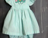Vintage Aqua Blue Checkered Toddler Girl Pinafore Sun Dress - 2T., Ruffled Straps, Embroidered Appliqued Flowers, Bloomers, Diaper Cover