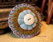 Felt Rosette Hair Clip, Fancy Barrette, Hand Embroidered, Pinwheel, Baby Blue, Red Thread, Mustard Yellow, Kelly Green, White Pearl Button