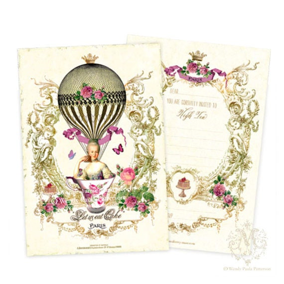 Marie Antoinette High Tea Invitations French By Mulberrymuse