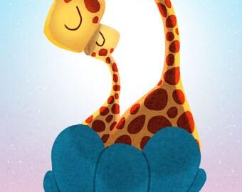 """Giraffe Print, Kids Art, Cute Giraffes, Nursery wall art,  Kids Wall Art - """"Snuggle"""""""