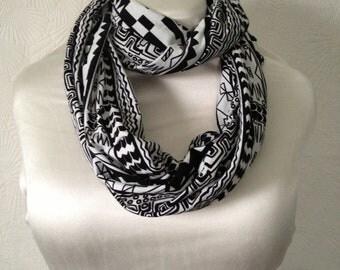 Tribal Stripe Print Knit Infinity Scarf - Circle Scarf - Tube Scarf