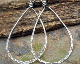 Sterling Silver filled Teardrops 1inch wide, natural or antiqued, handmade findings, PurpleLilyDesigns