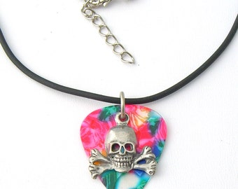 Guitar Pick Tie Dye with Skull and Crossbones Rock & Roll Pirate Skater Goth Biker Necklace