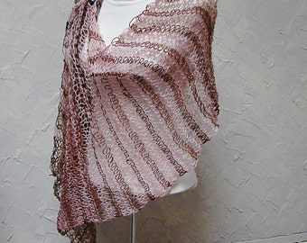Shawl or Scarf In Pink and Brown