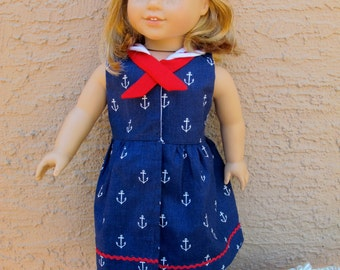 Doll Sailor Dress and Hat Sewing Pattern for 18 inch Doll - fits American Girl - BUNDLE