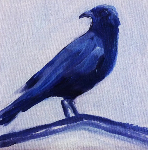 Download Crow Raven Painting Small Oil on Canvas 4x4 Blue Black