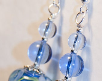 Handmade Silver Plated Wire Earrings with Blue Flowers Lampwork Glass Beads