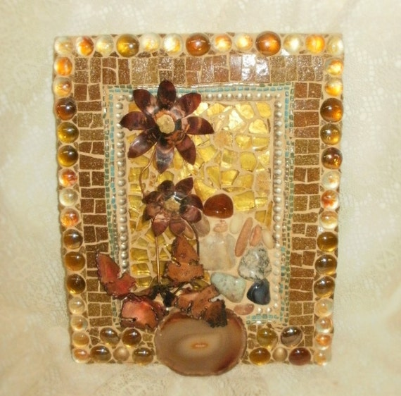 DRUZY agate slice metal sculpture contemporary apocolyptic glass mosaic PORTRAIT