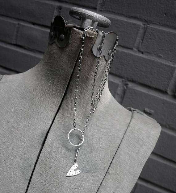 Silver Lariat Necklace Heart Artisan Recycled Sterling Long  - Roped In