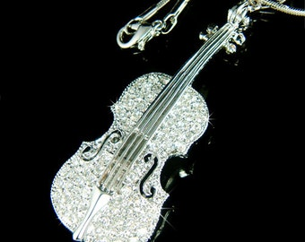 Big Swarovski Crystal MUSIC Violin Viola Cello Fiddle Pendant Necklace