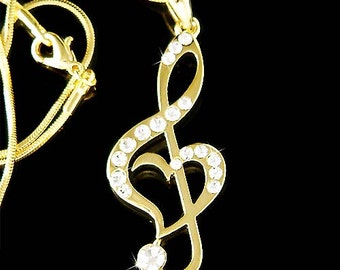 Swarovski Crystal Gold Plated TREBLE G CLEF Love Music Musical Note Heart Pendant Necklace Christmas Best Friend Gift New