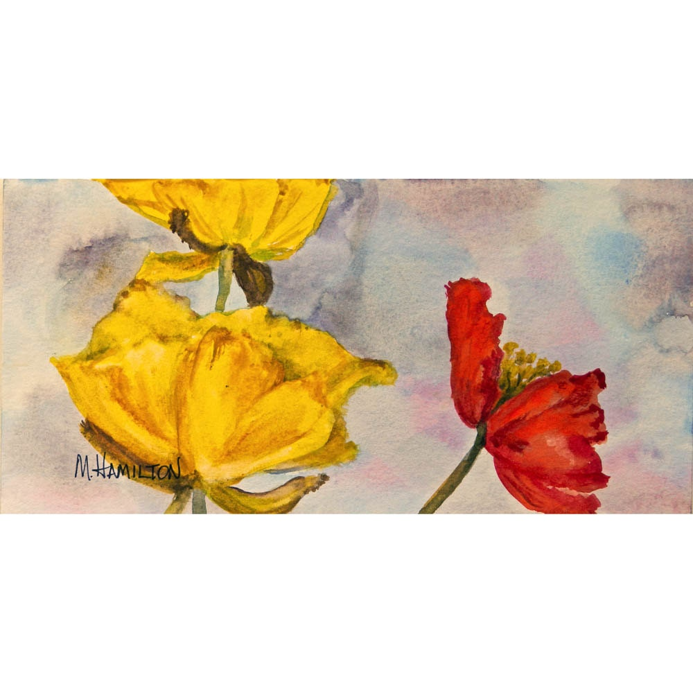 Watercolor Flowers Yellow and Red Poppies Original Painting