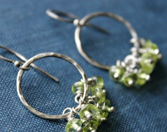 Lime Green Peridot and Sterling Silver Cluster Earrings - OASIS