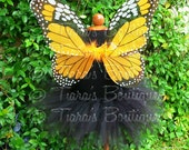 Toddler, Girls Halloween Costume - Sewn Black 11'' Pixie Tutu & Orange Monarch Butterfly Wings