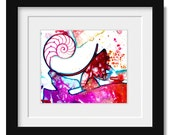 """Sea Shell Abstract Watercolor painting, Nautilus Shell Art, Ocean, """"Sea Jewels 5""""  Original abstract art by Kathy Morton Stanion EBSQ"""