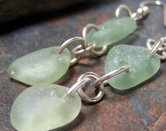 Tropical Water - Sea Glass STERLING Silver EARRINGS