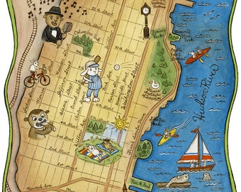"Map of Hoboken New Jersey Archival Art Print 8"" x 10"""