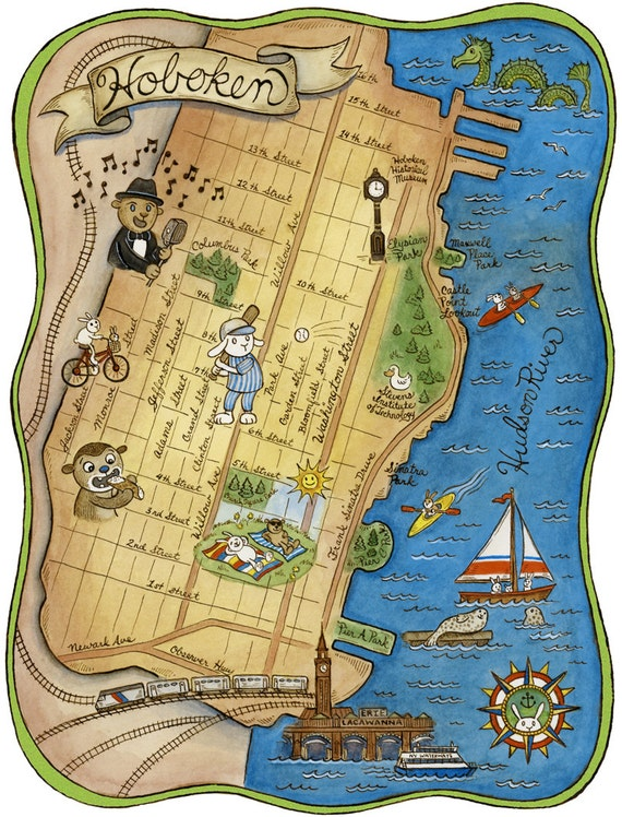 Map Of Hoboken New Jersey Archival Art Print 8 X 10 By