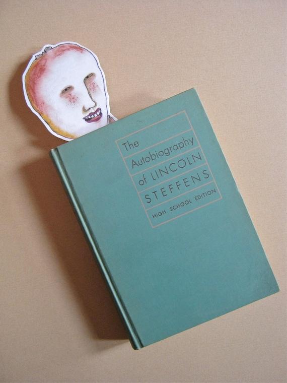 bookmark, Mealy Potato Head, illustrated bookmark-,laminated, handmade, funny, humor, book mark