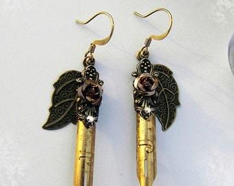 WILD ROSE Elegant Scribe Gilded Pen Nib Earrings