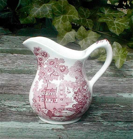 Royal Staffordshire Transferware Creamer - A J Wilkenson - Red - Tonquin Pitcher