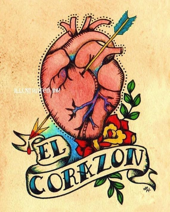 Old School Tattoo Heart EL CORAZON Loteria Print 5 x 7, 8 x 10 or 11 x 14