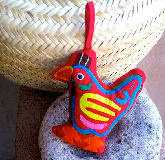 Adorable Red Mola Chicken - Kuna Indian Herbal Ornament - Hand Sewn Reverse Applique
