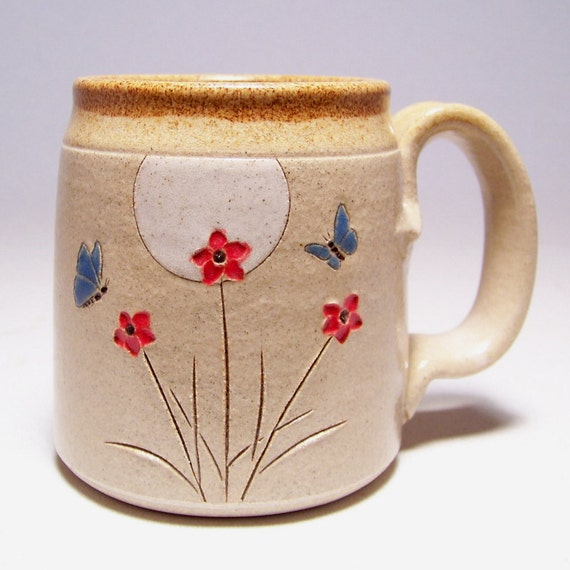 Butterfly and Flowerrs Stoneware Coffee Mug Limited Series 119(microwave safe) 12 oz