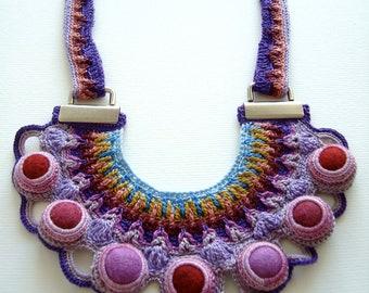 statement unique necklace crochet purple lilac party