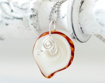Glass Pendant Necklace, Whimsical Necklace, Teen girl Jewelry, Artisan Glass, Red, Orange and White Lampwork Glass, Spiral, Sterling Silver