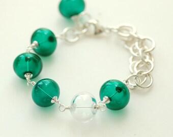 Glass Bracelet, Peacock Green, Emerald Green Bracelet, Peacock Wedding, Teal Glass and Sterling Silver, Hollow Glass Bracelet