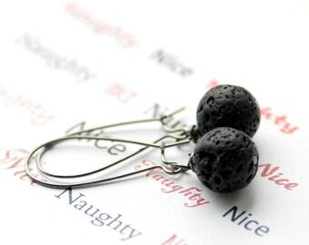 Black Lava Earrings, Novelty Gift, Gag Gift, Lump of Coal, Gunmetal, Dangle Earrings, Christmas Earrings, Hostess Gift - Naughty or Nice