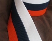 Striped elastic in orange, navy blue, and white, extra wide 2 1/2 inches wide