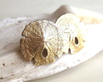 Sand Dollar Earrings - Brass Sand Dollar Earrings - Sea Biscuit Earrings - Beach Wedding - Sand Dollar Jewelry - Andyshouse - Made in BKLN