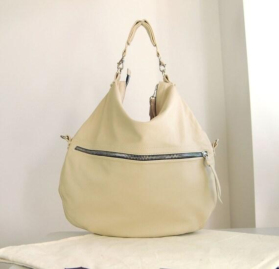 Roselle, three size nude cream leather hobo bag, handmade