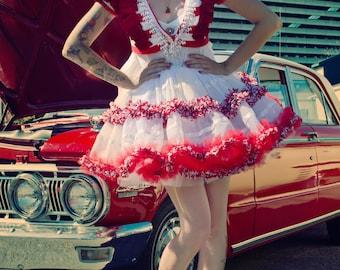 Japanese Fashion Harajuku Decora Girl KPop Kawaii Rockabilly Prom Dress with Christmas Candycane Stripes by Janice Louise Miller