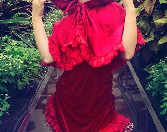 Japanese Fashion Harajuku Decora Girl KPop Kawaii Dark Mori Girl Little Red Riding Hood with Cape by Janice Louise Miller