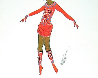 The Minotaur Costume, 1913, Musical Comedy Costume, 1915 Erte Theatrical Costumes 2 Sided Book Plate 1979 Full Color Illustration