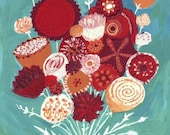 Folk Art Floral Print - Red, Maroon and Orange Flower Bouquet on Aqua Blue Teal Artwork Wall Decor Spring 8x10