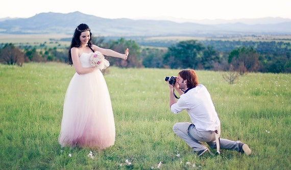 SALE Strapless Sweetheart Tulle Ombre Gown - Ready to ship