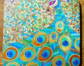 COASTER Beautiful and Bold Mosaic Peacock Coaster - Mosaic Art